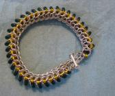 Chainmaille Caterpillar Bracelet with Green C ...
