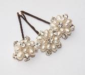 White Pearl and Rhinstone Bridal Hair Pins Wedding Hair Accessories