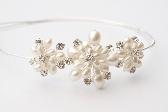 White Pearl and Rhinestone Floral Bridal Side Tiara Bridesmaid Headdress