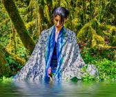 White and blue Shamanic shipibo scarves in modal silk