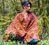 Orange ocher Shamanic shipibo scarves in cashmere silk