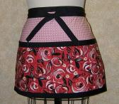Red Roses apron deep pockets cotton red black white lined topstitched