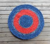 Crocheted Rug 37 inch round handmade cotton recycled fabric strips red blue plaid