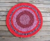 Rug red mauve round cotton crocheted