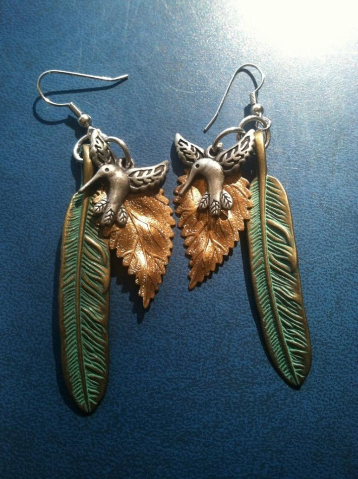 Antique Brass and Hummingbird Earrings