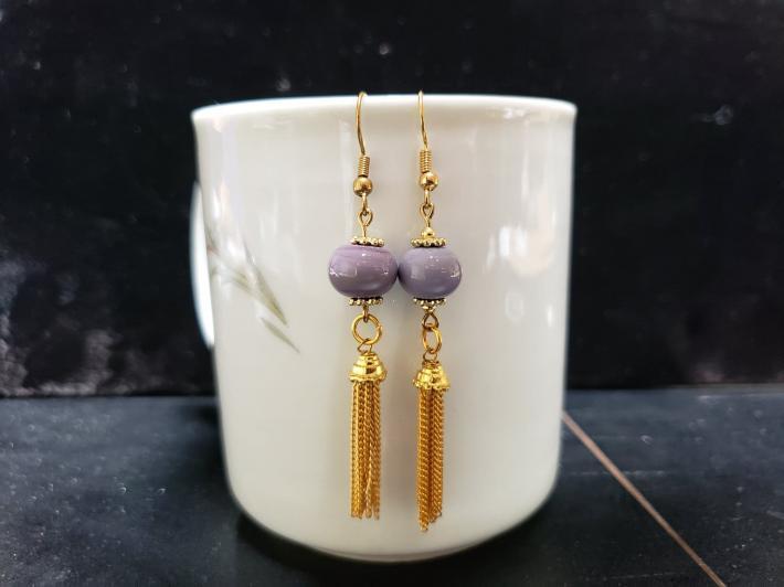 lampwork purple beads with tassels