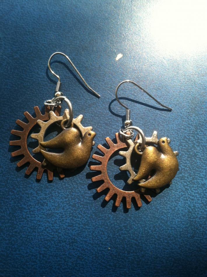 dove steampunk earrings
