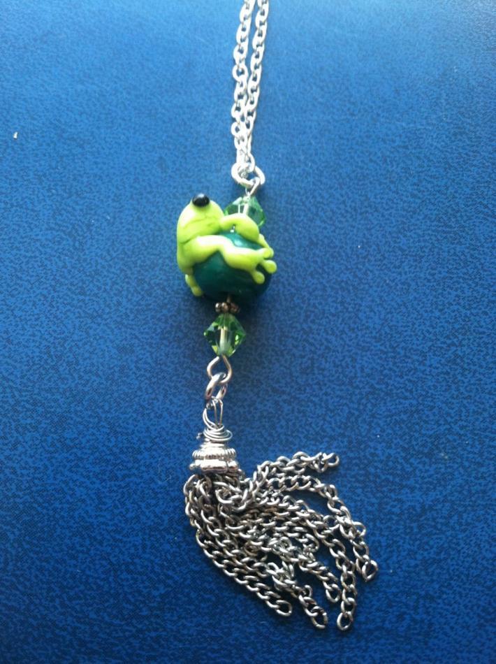 frog lampwork bead necklace in lime green