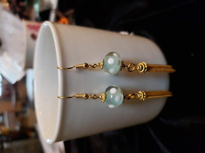 lampwork seafoam green earrings with white polka dots