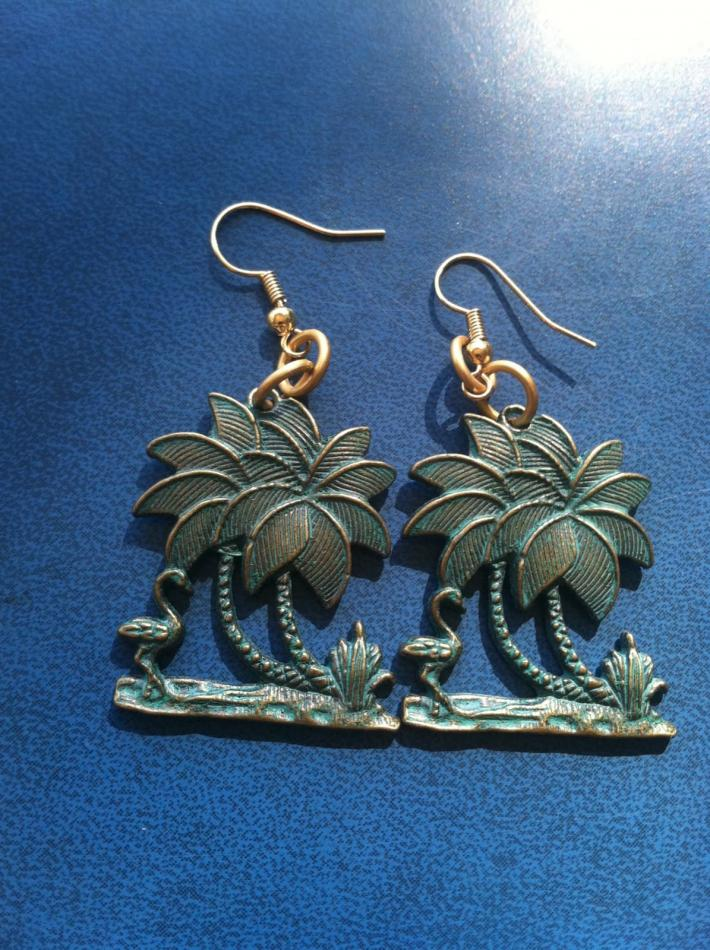 Palm Tree Earrings in Brass
