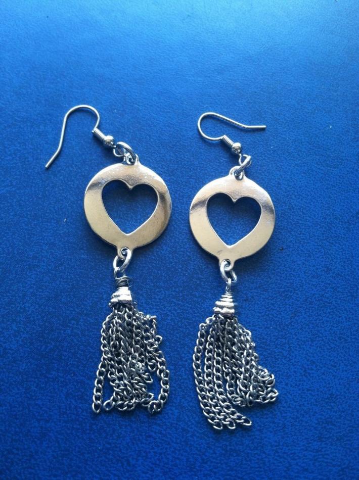Heart Earrings with Tassels