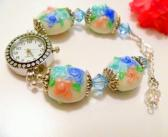 Handcrafted White Lampwork with Flower Design Beaded Watch