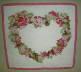 Cottage Roses Heart Art Quilt Wall Hanging