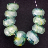 Green Chameleon Lampworked Bead Set