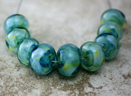 Green Chameleon Lampworked Bead Set