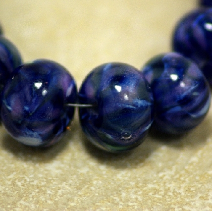 Blue Marble Lampworked Glass Bead Set