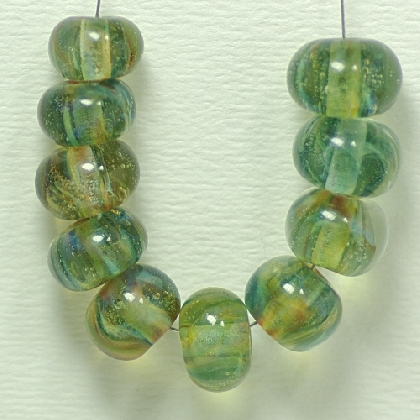 Icy Green Borosilicate Lampworked Glass Bead Set