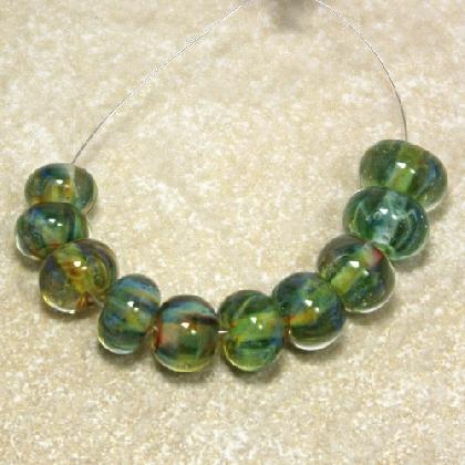 Icy Green Borosilicate Lampworked Glass Bead Set