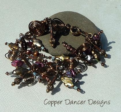 Iridescent Bronze Charm Bracelet