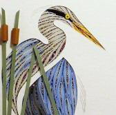 Quilled Blue Heron Turned handmade wall art