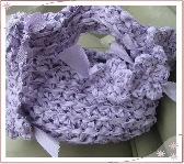 Lavender Crochet Satin Fabric Lined Clutch with Key Fob