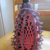 Pink and Purple Crochet Bottle Wrap