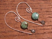 handmade african turquoise and apatite sterling silver earrings w long earwires