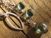handmade green amethyst and quartz sterling silver lariat necklace