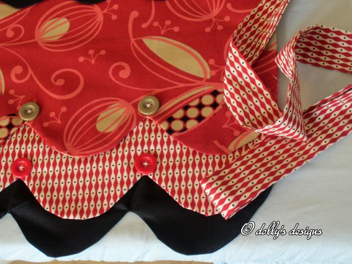 Mod Red Harlequin Half Apron