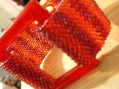 Fiesta Bracelet Czech Glass Seed Bead Weave wGlass Rectangle