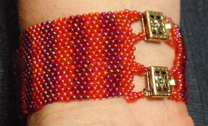Fiesta Bracelet Czech Glass Seed Bead Weave wGlass Rectangle