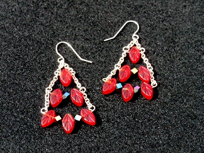 The Leaves are Falling Red Pressed Glass Leaf Dangle Chandelier Earrings