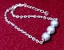 Beautiful Vintage Powder Blue Giant Pearl with Rhinestone Rondelles Bar Necklace