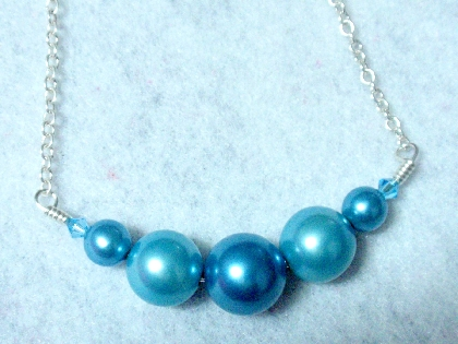 Beautiful Sky Blue Vintage Graduating Pearls with Swarovski Crystals Smiling Bar Necklace