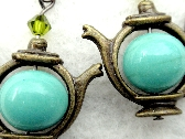 Tea For Two Two For Tea Cute Teapot Earrings w Vintage Teal Glass Beads from Japan