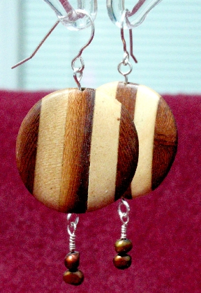 Vintage Two Toned Wood Disc Copper Fresh Water Pearl Earrings Reclaimed