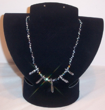 Peacockasaurus Necklace Choker Necklace Fresh Water Biwa Stick Pearls Swarovski Crystals 100 Percent Sterling Silver