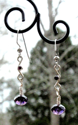 A Touch of Purple Reclaimed Earrings with Lead Free Rondel Crystals