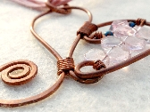 Upside Your Heart Hammered Copper Heart W Rose Quartz Briolettes