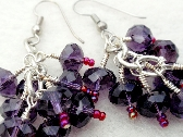 Grape Cluster Rondelle Crystal Drop Earrings