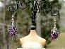 Grape Cluster Rondelle Crystal Drop Earrings
