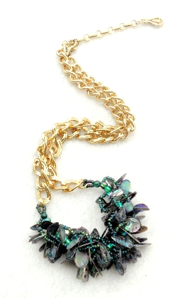 Shaggy Abalone Paua Abalone Drops and Gold Chain Necklace Choker