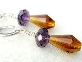 Topaz and Grape Dangle Pierced Earrings Lead Free Crystals
