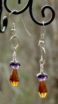 Topaz and Grape Dangle Pierced Earrings Lead Free Crystals