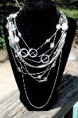 Shabby Chic Multi Strand Silver Tone Necklace