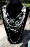 Shabby Chic Multi Strand Silver Tone Necklace