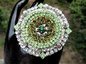 Around the Sparkling Garden Large Vintage Rhinestone Assemblage Pendant One of a Kind