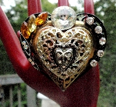 Heart and Stone Large Vintage Rhinestone Assemblage Pendant One of a Kind