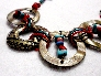 Turquoise and Red Coral Chips on Bronze Circles Chunky Bracelet