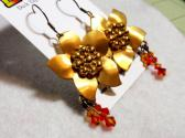 Fire Flowers Earrings Reclaimed Vintage Golden Flowers Adorned W Fire Opal Swarovski Crystal Danlges